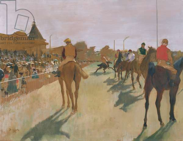 The Parade, or Race Horses in front of the Stands, c.1866-68 (oil on paper)