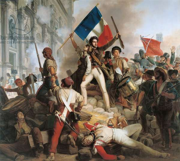 Fighting at the Hotel de Ville, 28th July 1830, 1833 (oil on canvas)