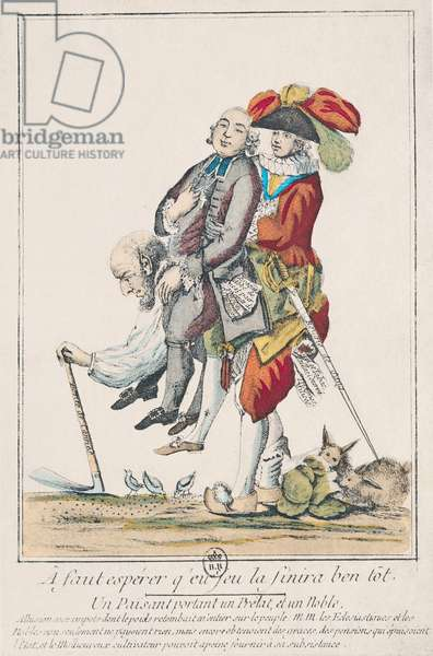 The Game Must End Soon, a Peasant Carrying a Clergyman and a Nobleman, 1789 (coloured engraving) (see also 158273)