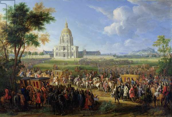 Louis XIV (1638-1715) and his Entourage Visiting Les Invalides, 26th August 1706 (oil on canvas)