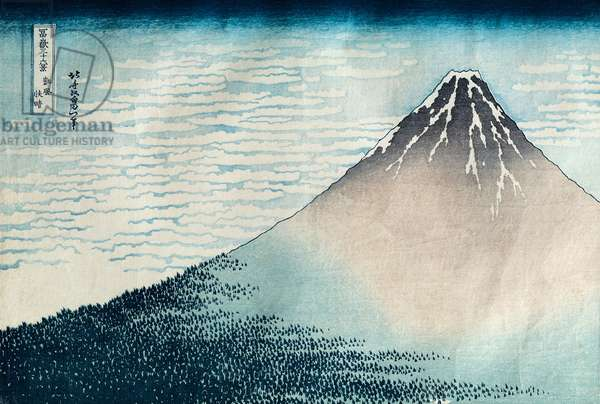'Fuji in Clear Weather', from the series '36 Views of Mount Fuji' (Fugaku sanjurokkei) (woodblock print) (see also 77485 & 394)
