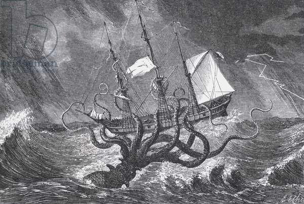 The Kraken, as Seen by the Eye of Imagination, illustration from John Gibson's 'Monsters of the Sea', 1887 (engraving) (b&w photo)