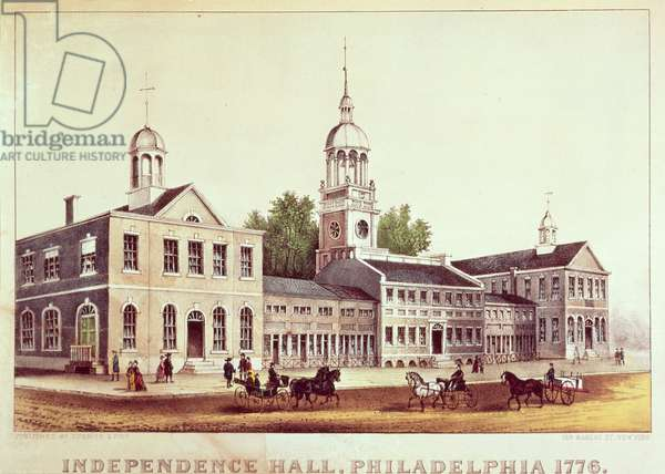Independence Hall, Philadelphia, 1776, published by Nathaniel Currier (1813-88) and James Merritt Ives (1824-95) (colour litho)