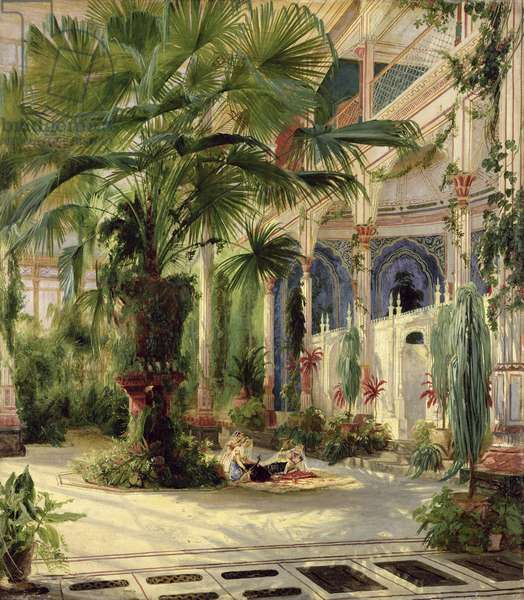 Interior of the Palm House at Potsdam, 1833 (paper on canvas)