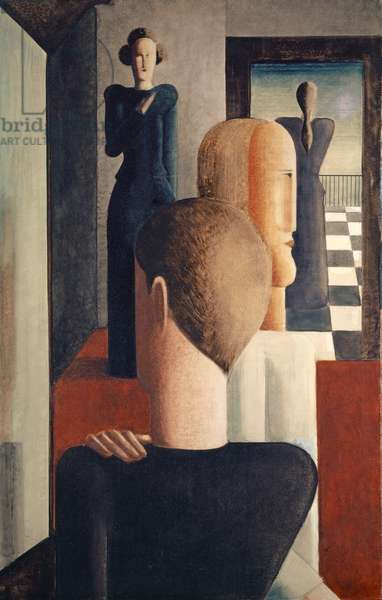 Interior with Five Figures, Roman, 1925 (oil on canvas)
