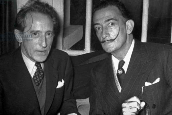 Jean Cocteau and Salvador Dali in Madrid on November 13, 1953
