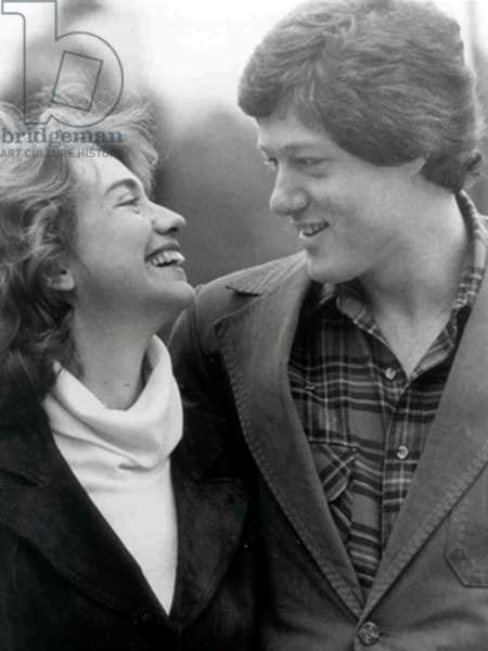 Hillary and Bill Clinton, both students in law in Yale, after their 1st meeting which took place in 1971