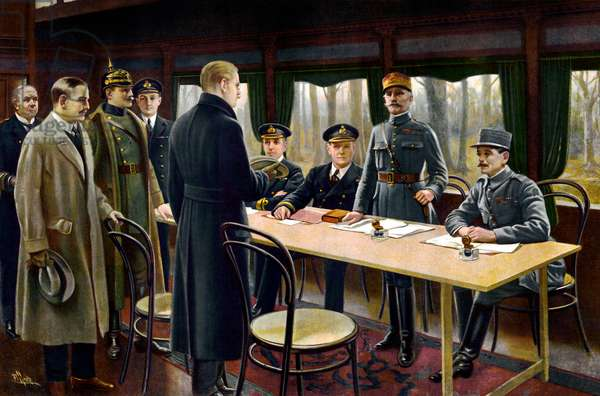 Signing of the Armistice, 11th November 1918 (colour litho)