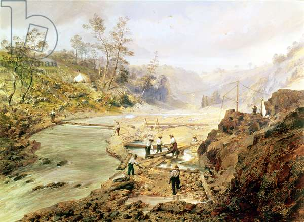 'Fortyniners' washing gold from the Calaveres River, California, 1858 (oil on canvas)