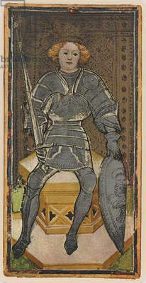 The King of Swords, facsimile of a tarot card from the 'Visconti' deck, 1441-47 (colour litho)
