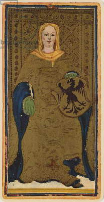 The Empress, fascimile of a tarot card from the 'Visconti' deck, 1441-47 (colour litho)