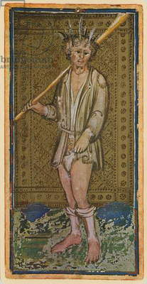 The Fool, fascimile of a tarot card from the 'Visconti' deck, 1441-47 (colour litho)