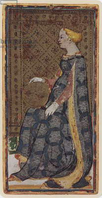 The Queen of Coins, facsimile of a tarot card from the 'Visconti' deck, 1441-47 (colour litho)