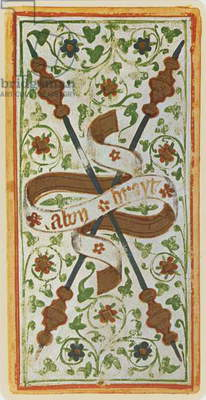 The Two of Wands, facsimile of a tarot card from the 'Visconti' deck, 1441-47 (colour litho)