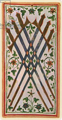 The Six of Swords, facsimile of a tarot card from the 'Visconti' deck, 1441-47 (colour litho)