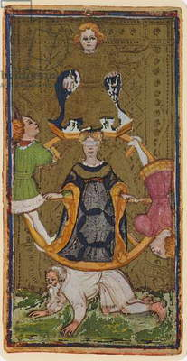 The Wheel of Fortune, fascimile of a tarot card from the 'Visconti' deck, 1441-47 (colour litho)