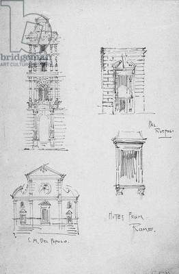 Notes from Rome, 1891 (pencil on paper)
