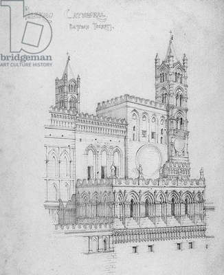 Palermo Cathedral, Eastern Turrets, 1891 (pencil on paper)