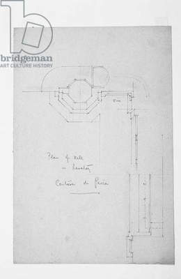 Plan of Well in Lavatory, Certosa di Pavia, 1891 (pencil on paper)