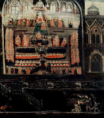 Right hand side of Diptych showing the Parliament of James I of England, VI of Scotland (1566-1625) and the Gunpowder Plot, detail of the Gunpowder Plotters from the bottom right hand corner (oil on panel) (detail of 5524)