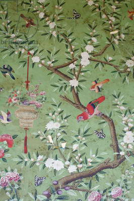 Detail of the wallpaper in the Wellington Room (photo)