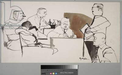 Courtroom Montage, 1955 (ink and wash on paper)