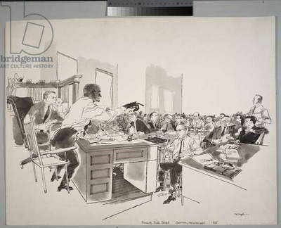 Mose Wright testifying, 1955 (ink and wash on paper)