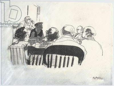 Mamie Bradley testifying, 1955 (paint on paper)