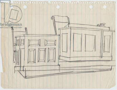 Judge's bench and witness stand, 1955 (pencil on paper)