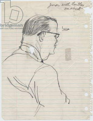 Juror with turtles on his shirt (verso of Juror's profile), 1955 (pencil on paper)