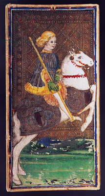 Tarot card depicting Knight of wands, From Pierpont-Morgan deck, Workshop of Bonifacio Bembo (active 1447-1478, Died before 1482), 15th century, Italy