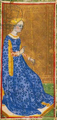 Tarot card depicting the Queen of clubs, from the Brera-Brambilla deck, workshop of Bonifacio Bembo (active 1447-1478, died before 1482), Italy, 15th century