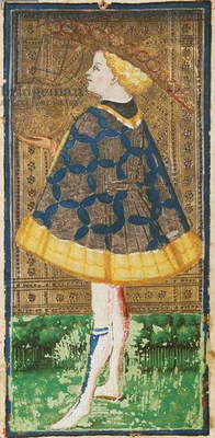 Tarot card depicting the Knight of pentacles, from the Pierpont-Morgan deck, workshop of Bonifacio Bembo (active 1447-1478, died before 1482), Italy, 15th century