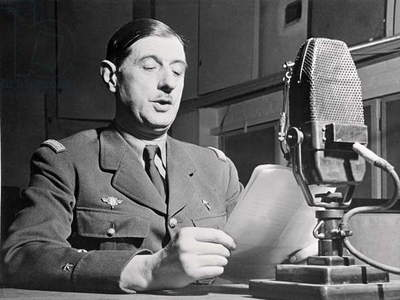 General Charles de Gaulle (1890-1970) making a speech at the BBC in London, 30th October 1941 (b/w photo)