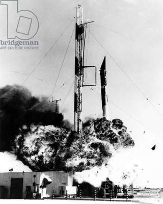 Vanguard missile exploding on its Cape Canaveral launch pad on December 6, 1957. The failure occurred after the Soviets successful launch of Sputnik 1 , leading to US fears of 'missile gap'