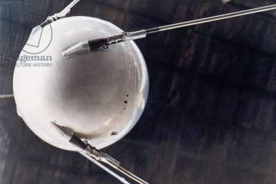 A model of Sputnik 1, the first human-made object in space. The Earth-orbiting artificial satellite was launched by the Soviet Union on October 4, 1957. As part of Russia's contribution to the International Geophysical Year, it provided information on the upper atmosphere. Its signal lasted for 22 and it burned up in the Earth's atmosphere on delivered information Jan, 4, 1957