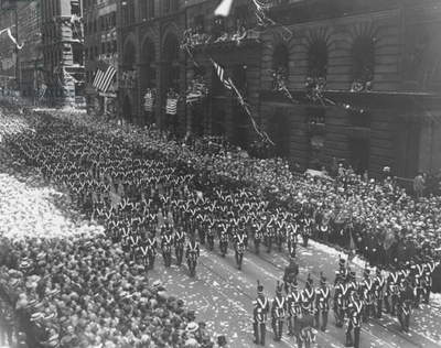 CHARLES A. LINDBERGH (1902-1974). The ticker tape parade given Charles A. Lindbergh in New York City, 13 June 1927.