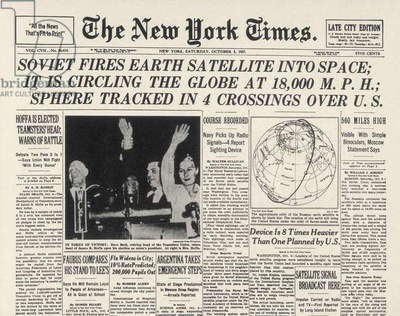 FIRST SOVIET SATELLITE, 1957 'The New York Times' front page headline, 5 October 1957, announcing the launch of Sputnik I, the Soviet Union's first earth satellite.