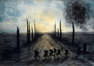 An avenue of trees on the Messines Ridge (w/c over pencil)