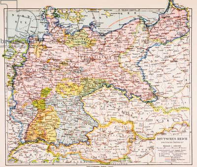 Map of Germany between World War One and World War Two, from Meyers Lexicon, pub. 1928