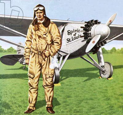 Charles Lindbergh and the plane in whch he flew across the Atlantic, solo.