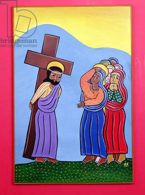 Jesus Meets His Mother, no. 4 in '14 Stations of the Cross' series, 2002 (acrylic on canvas) (see also 192720-722, 192724-733)