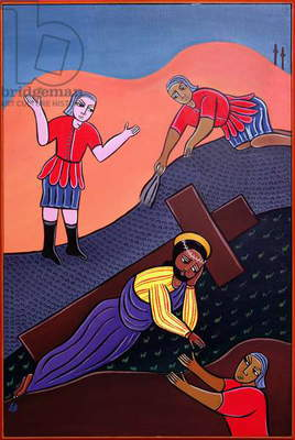 Jesus Falls a Second Time, no. 7 in '14 Stations of the Cross' series, 2002 (acrylic on canvas) (see also 192720-725, 192727-733)