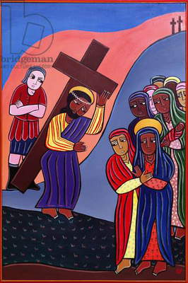 Jesus Meets the Women of Jerusalem, no. 8 in '14 Stations of the Cross' series, 2002 (acrylic on canvas) (see also 192720-726, 192728-733)