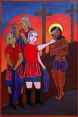 Jesus is Stripped of His Garments and Given Gall to Drink, no. 10 in '14 Stations of the Cross' series, 2002 (acrylic on canvas) (see also 192720-728, 192730-733)