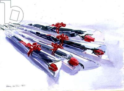 Wrapped Roses, 1987 (w/c on paper)