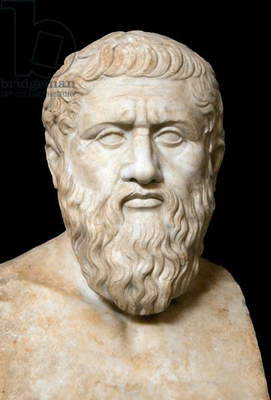 Italy: A mid-1st Century CE Roman bust of the Greek philosopher Plato, Vatican Museum, Rome (2016)