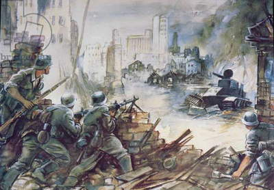 The Battle of Stalingrad (w/c on paper)