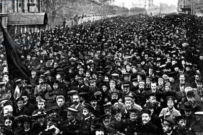 Students demonstration Saint Petersburg during the 1917 russian revolution