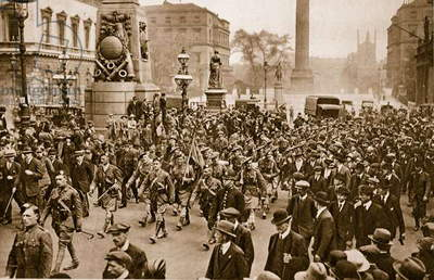 1st Battalion London Scottish marching through London on arrival from France, May 16th, 1919 (sepia photo)